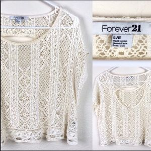 Forever 21 lace short sleeved blouse with cutout